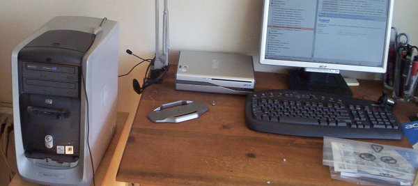 Old machine on the left; new on the desk, on the right